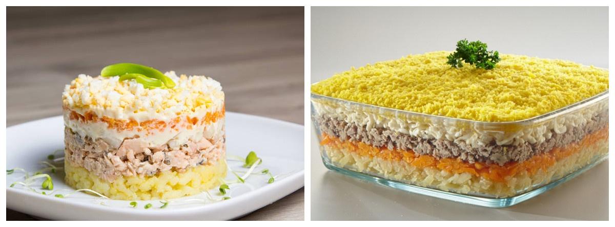 Салат «Мімоза» з горбушею - 7 класичних рецептів з консервами, вершковим маслом, картоплею, рисом з покроковими фото